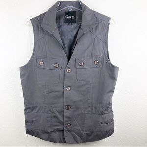 Men's Guess grey zip up and button vest Medium 🖤
